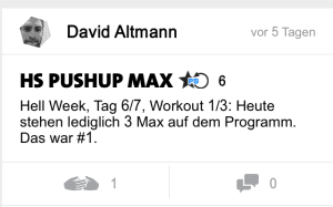 freeletics hell week tag 6 hs pushup max