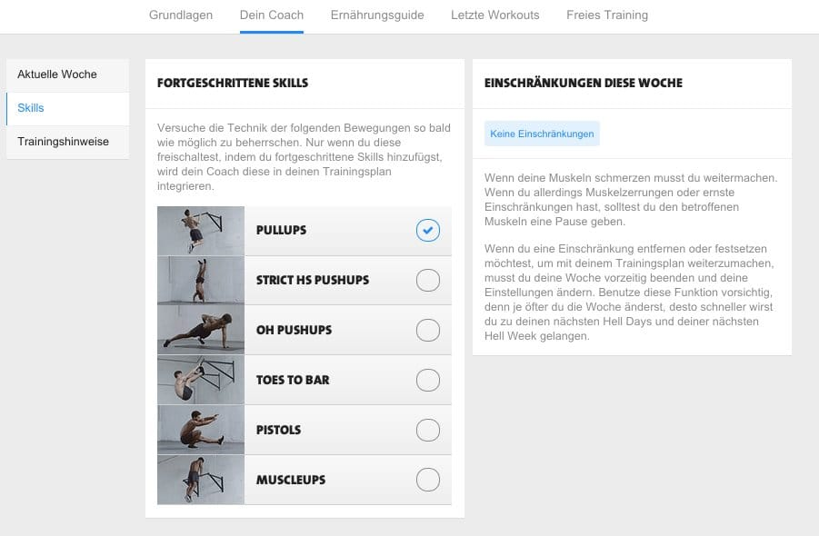 freeletics upgrade skills