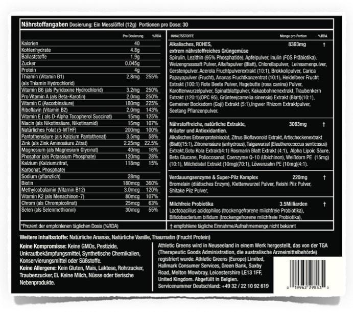 Athletic Greens Inhaltsstoffe: deutsches Label