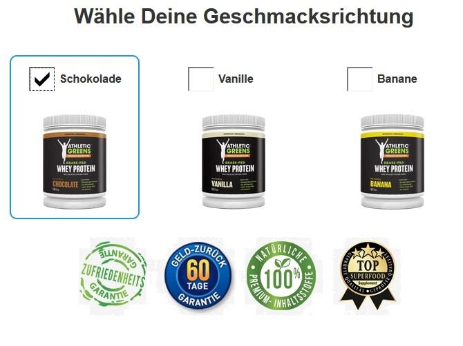 athletic greens whey-protein eiweiss-shake Geschmacksrichtungen vanille shoko banane