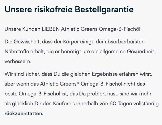 Athletic Greens Omega 3 Geld zurück Garantie