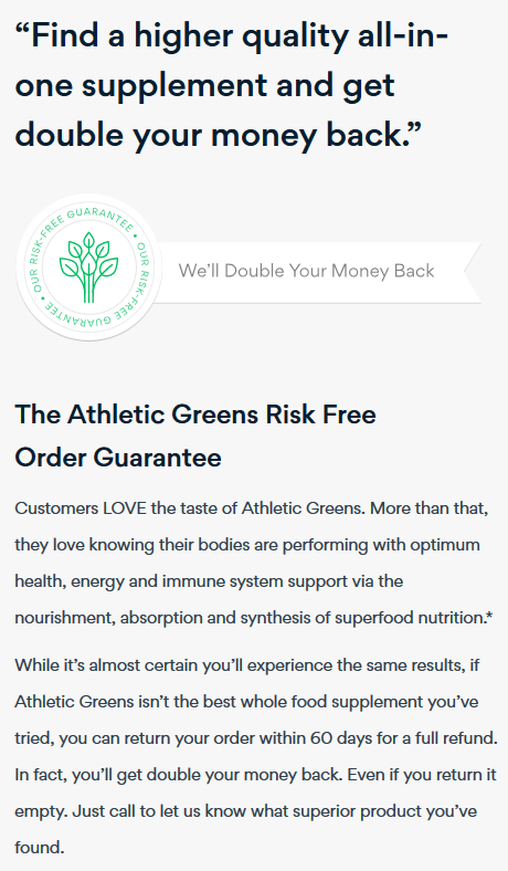 athletic greens money back guarantee